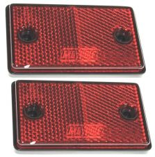 2 x RED TRAILER CARAVAN GATE POST CAR HORSEBOX ADHESIVE REFLECTOR 75x46x10